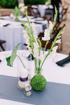 Modern green and white centerpiece