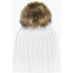 Boohoo Laura Rib Knit Faux Fur Pom Beanie Hat ( 9) ❤ liked on Polyvore  featuring accessories 061ed3fdee5a