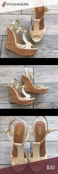 Charlotte Russe Wedge Sandals Online only! weave through cut-outs at the vamp, while an ankle strap seals with a buckle at the side. Chunky cork sole gives a boost from below with a platform wedge heel. Charlotte Russe Shoes Wedges