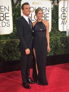 Justin Theroux and Jennifer Aniston at the 72nd Annual Golden Globe Red Carpet