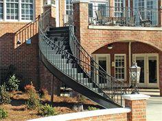 Custom Built Wrought Iron Steel Staircases, Modern Metal Mono-stringer, Circular, Spiral - Babin Ironworks your custom staircase builder. Staircase Spindles, Staircase Outdoor, Wrought Iron Staircase, Winding Staircase, Floating Staircase, Stair Railing, Staircase Design, Spiral Staircases, Traditional Staircase
