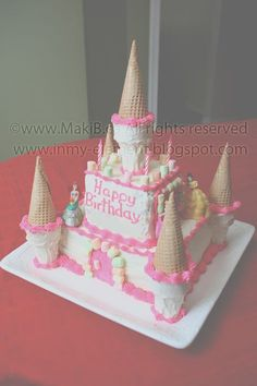I have a princess living in my home. She requested a princess castle cake for her birthday a while back and one can never say no to a p. Easy Castle Cake, Frozen Castle Cake, Castle Birthday Cakes, 4th Birthday Cakes, Easy Princess Cake, Princess Castle, Disney Princess Birthday Party, Princess Tea Party, Decadent Chocolate Cake