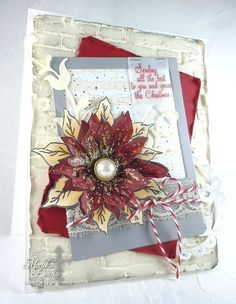It's time for the new sketch at The Sweet Stop, I decided to make another poinsettia card. This time, I just used cream card stock. Cut out 2 layers,. Poinsettia Cards, Christmas Poinsettia, Holiday Cards, Christmas Cards, Flower Images, Clear Stamps, Homemade Cards, Handmade Christmas, Sassy