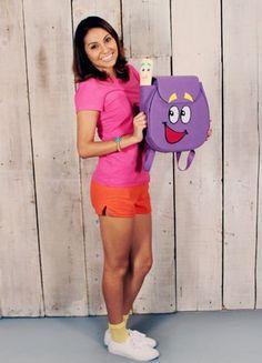 Super Cute Dora Costume for Halloween at School.