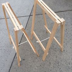 Image of Soho Trestle Table Woodworking Videos, Woodworking Bench, Woodworking Crafts, Diy Wood Projects, Wood Crafts, Folding Sawhorse, Diy Sawhorse, Plywood Table, Trestle Dining Tables