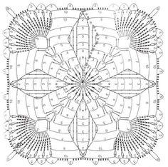 Crocheted motif no. Crochet Square Patterns, Crochet Motifs, Crochet Blocks, Crochet Diagram, Crochet Squares, Crochet Chart, Crochet Granny, Crochet Doilies, Crochet Stitches