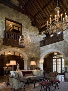 My dream home! A breathtaking living room, done in a formal Tudor style, with a steeply pitched vaulted wood ceiling and rustic stone walls (via Interior Designer -Mark Cravotta) Tudor House, Casas Tudor, Casa Estilo Tudor, Tudor Style Homes, Tuscany Style Homes, French Country Living Room, Rustic Stone, Wood Stone, Castle House