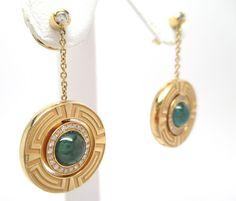 0.25CT Fine Versace Round Diamond & Emerald Spinning Dangle Earrings 18k YG #Versace #DropDangle