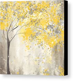 Yellow Canvas Print featuring the painting Yellow And Gray Tree by Lourry Legarde