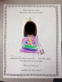Halloween activity. Class Book. Who stole the candy from the trick-or-treat bag?