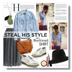 Steal HIS Style... by clovers-mind on Polyvore featuring H&M, Chicwish, Prada, Vince Camuto, Miss Selfridge, Maison Michel, Laura Geller, Kate Spade, Trilogy and StreetStyle