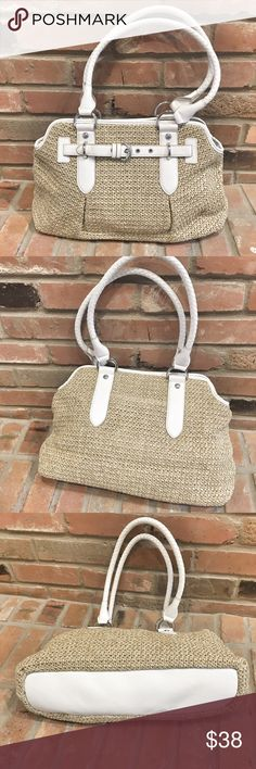 Straw bag white faux leather trim NWT. Features buckle front design, roomy two-section interior. Double handles. Shoulder or arm carry. Bags