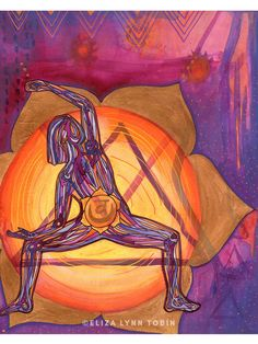 This is a original yoga art painting titled 'Sacral Chakra,' the chakra of creativity + flow. This vibrant yoga wall art measures 8 inches by 10 inches. You have a flowing, glowing creative well within you. You are enough. Place this warm purple and orange painting in your sacred space to energize t