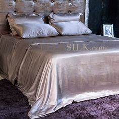Silver Silk Bedding Sets Queen fitted & flat sheet Oxford style pillow cases