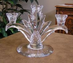 Heisey Plantation Pattern Candle Holder with Pineapples Glass Candle Holders, Candlestick Holders, Candlesticks, Candleholders, Temple Design, Waterford Crystal, Glass Company, Antique Glass, Vintage Glassware