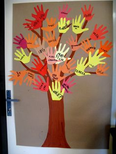 TwinSpaces - Thanksgiving Preschool, Thanksgiving Crafts For Kids, Thanksgiving Decorations, Fall Crafts For Toddlers, Toddler Crafts, Activities For Kids, School Decorations, Halloween Decorations, Hand Print Tree