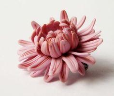 Брошь Розовая хризантема - брошь,брошь-цветок,розовый цвет,хризантема