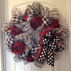 Black White & Red Deco Poly Mesh Wreath | eBay