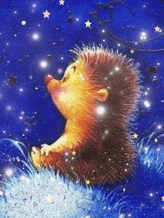 Hedgehog Art, Cute Hedgehog, Cute Bunny Cartoon, Cute Cat Gif, Cartoon Pics, Pretty Gif, Beautiful Gif, Beautiful Paintings, Snoopy Pictures