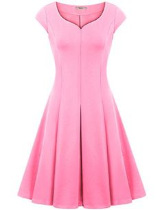 Cocktail DressBebonnie Women Sweetheart A Line 1950s Elegant Skater Christmas Casual Sun Dresses Pink XL >>> Click image to review more details. (Note:Amazon affiliate link) #WeddingDresses
