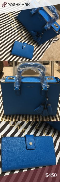 NWT Henri B blue leather bag w/ matching wallet New Henri Bendel West 57th Turnlock Tassel Satchel blue bag with long strap and matching Uptown medium wallet henri bendel Bags Crossbody Bags
