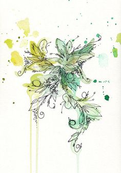 #Watercolor #Flowers and #Splashes