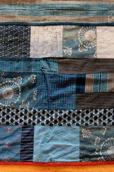 Gorgeous Japanese Sashiko Indigo Dye Quilt Vintage 1970s Handmade