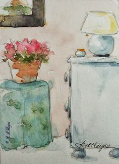 Watercolor Paintings by RoseAnn Hayes: Blue Tablecloth, White Chest of Drawers, A Cozy Room