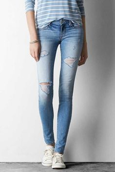AEO Jegging in Light Destroy Wash. The look & feel of timeworn, tried & true denim. #AEOSTYLE