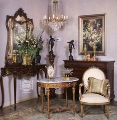 """Have nothing in your house that you do not know to be useful, or believe to be beautiful.""-William Morris An arrangement of antique furniture and accessories complete with fresh flowers and romantic lighting. #antique"
