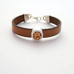 Simple leather z kryształkiem brązowa - NaLeMi-jewellery - Bransoletki