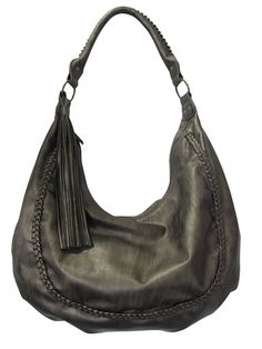 This hobo shoulder bag is available in 3 colours, black, bronze, or brick. It has a zipper closure and the inside has 2 slip pockets and a zipper pocket.  This is a great bag that will carry everything!