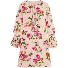 Gucci Ruffled printed silk crepe de chine mini dress (34,440 MXN) ❤ liked on Polyvore featuring dresses, gucci, платья, floral, blush, pink dress, floral dresses, short silk dress, pleated dress and flower print dress