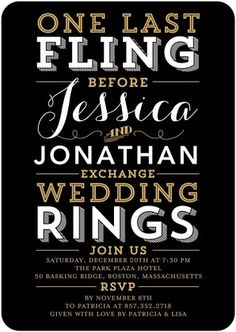 Signature White Bachelorette Party Invitations Fling and Rings - Front : Black