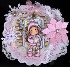 Magnolia 'Winter Tilda'  Handmade Shaped Christmas Card (Boxed)