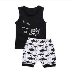 Two piece baby boy summer outfit. Set includes a black and white tank top with a… Two piece baby boy summer outfit. Set includes a black and white tank top with a shark and doo doo doo text. Shorts are black and whtie with a shark print. Baby Outfits, Boys Summer Outfits, Summer Boy, Toddler Outfits, Kids Outfits, 2017 Summer, Boys Clothes Style, Baby Boy Clothing Sets, Toddler Boy Clothing