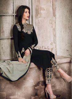 Black Punjabi wedding wear kameez with embroidered pants E17247