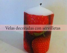Como hacer velas decoradas con servilletas - http://www.manualidadeson.com/velas-decoradas-servilletas.html
