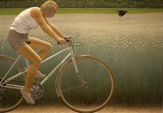 Cyclist and Crow, 1981, Alex Colville. Canadian (1920 - 2013)