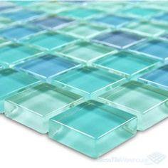 glass tile white subway with blue glass stripe- Redoing kitchen for mom Coastal Living, Coastal Decor, Sea Glass Colors, Water Colors, Mosaic Tiles, Glass Tiles, House Tiles, Florida Home, Beach House Decor