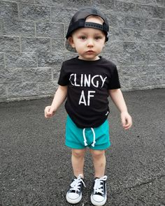 Clingy AF Kids Tee - Funny Kids Shirts - Ideas of Funny Kids Shirts - Clingy AF! Toddler boy or girl graphic tee shirt. Baby Outfits, Toddler Boy Outfits, Kids Outfits, Trendy Boy Outfits, Newborn Outfits, Stylish Dresses, Little Kid Fashion, Toddler Boy Fashion, Toddler Boy Style
