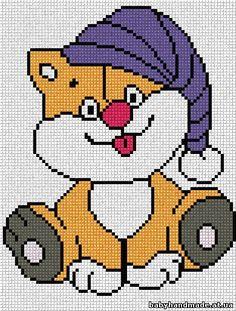 wuinipoo a crochet . Crochet Stitches Patterns, Cross Stitch Patterns, Knitting Patterns, Cross Stitch For Kids, Cross Stitch Baby, Quilt Baby, Cross Stitching, Cross Stitch Embroidery, Pixel Crochet
