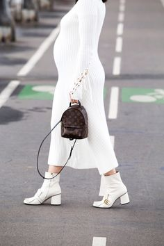 Louis Vuitton Palm Springs backpack and Gucci Marmot boots in white - all white look