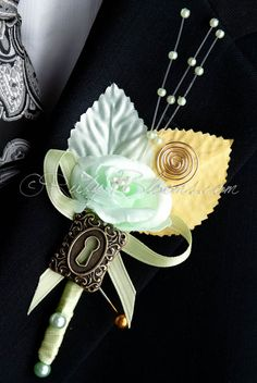 Unique, Elegant and Stylish Wedding Boutonniere - Designed for Groom, Best man, Prom, Ring bearer and any member of Your Special Event Party! It is easily secured with a pin. • Product: Set of 6 Alice
