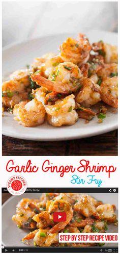 Garlic ginger shrimp stir fry recipe + step by step recipe video Stir Fry Recipes, Healthy Recipes, Vegetarian Recipes, Cooking Recipes, Healthy Meals, Shrimp Recipes, Fish Recipes, Asian Recipes, Shrimp Stir Fry