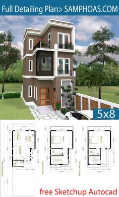 2 Bedroom Tiny Home Plan - SamPhoas Plan Small Modern House Plans, Dream House Plans, House Floor Plans, Micro House Plans, 3 Storey House Design, Small House Design, House Construction Plan, Model House Plan, Architectural House Plans