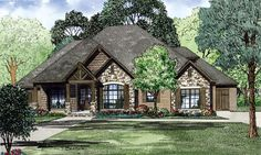 House Plan 82162   Best Selling House Plan 82162 can be classified as a Craftsman design due to the various siding materials including brick, stone and cedar shake. Heavy timber beams and stone pedestals dress up the front porch along with an