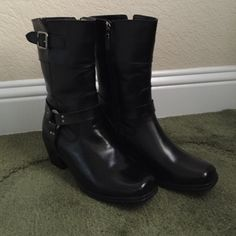 "Milwaukee Black Leather Boots Worn Once Milwaukee Black Leather Boots. Zips up side with buckle detail. 2 1/2"" heel. Milwaukee  Shoes Heeled Boots"