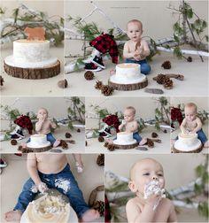 Lumberjack cake smash, first birthday, boy