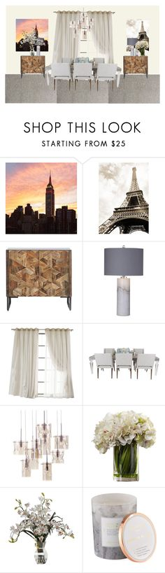 """Neutral Dining Room"" by sweeteve2016 ❤ liked on Polyvore featuring interior, interiors, interior design, home, home decor, interior decorating, Basset Mirror Company, D.L. & Co. and dining room"